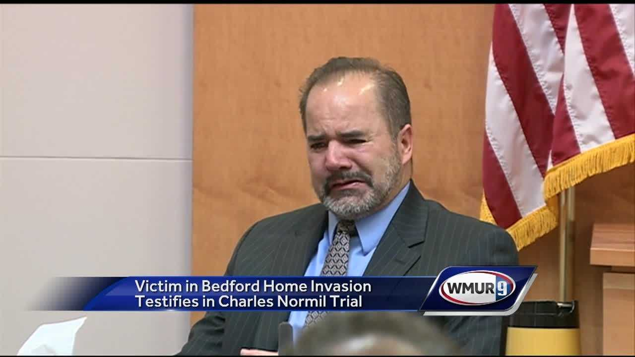 A Bedford doctor who was beaten in a home invasion gave emotional testimony in a trial Wednesday.