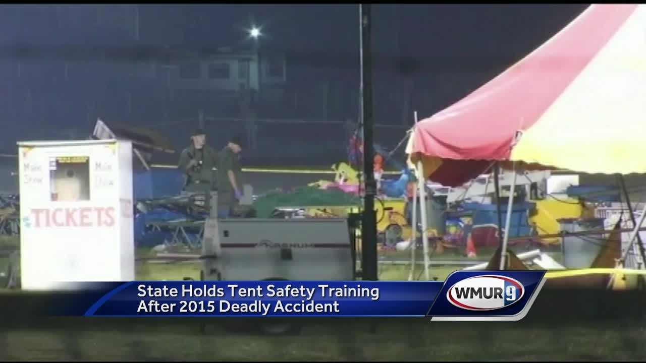 Firefighters from across the state trained Thursday on circus tent inspections and how to deal with collapses, nearly a year after a father and daughter died in a tent collapse.