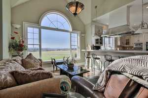 Many rooms in the home offer stunning views of the mountains from large windows.