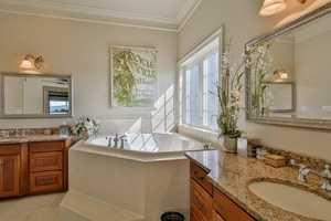 The home has 4 full baths and 1 half bath.