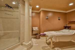 Here's a look inside the home's spa and steam room.