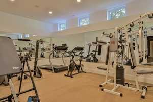 The home has its own fitness center.