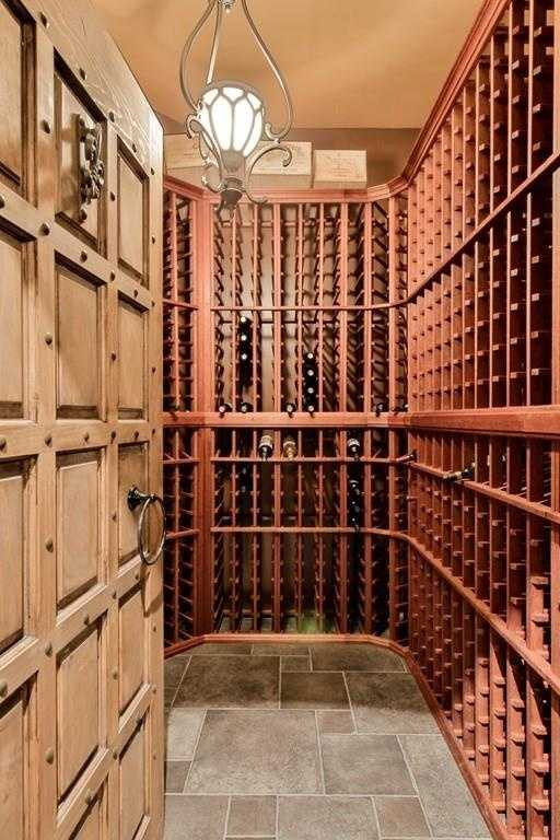 A look inside the home's wine cellar.