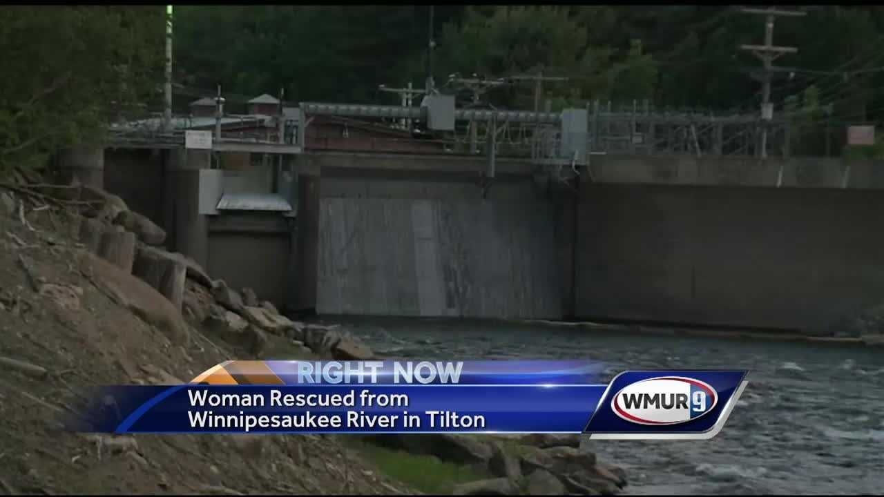 A woman was hospitalized after her kayak tipped over in the Winnipesaukee River in Tilton, leading to some frightening moments during the rescue effort.