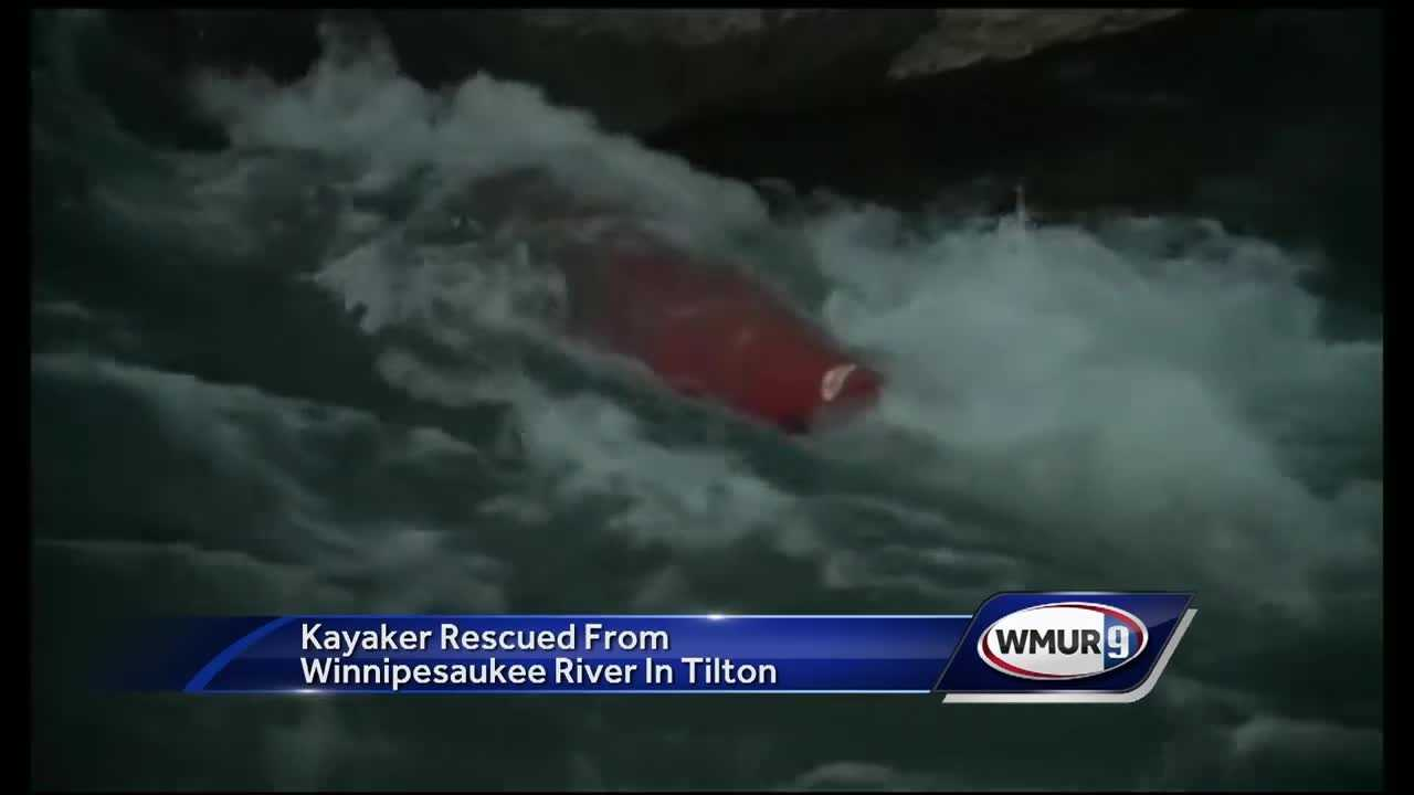 A kayaker is recovering after she was swept over a dam Sunday in the Lakes Region.