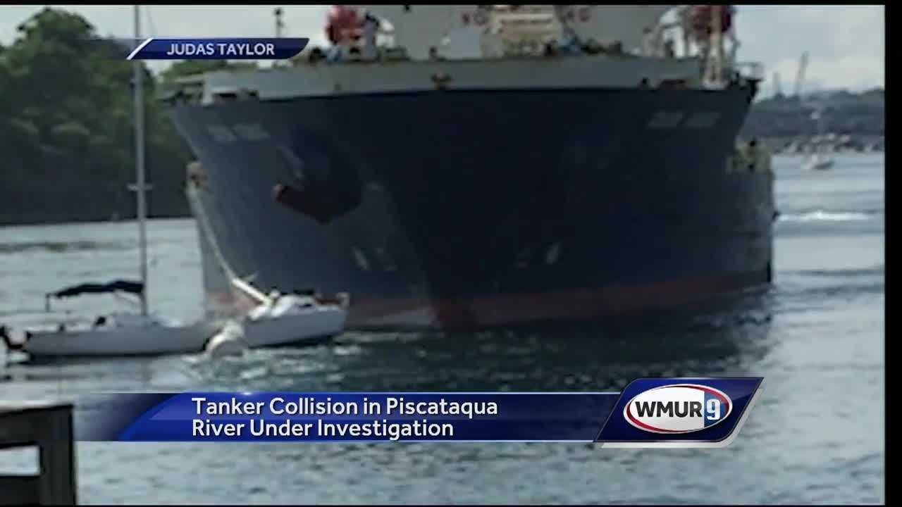 Investigators are trying to determine why a large tanker rammed through Portsmouth Harbor Wednesday, damaging its hull and some sailboats.