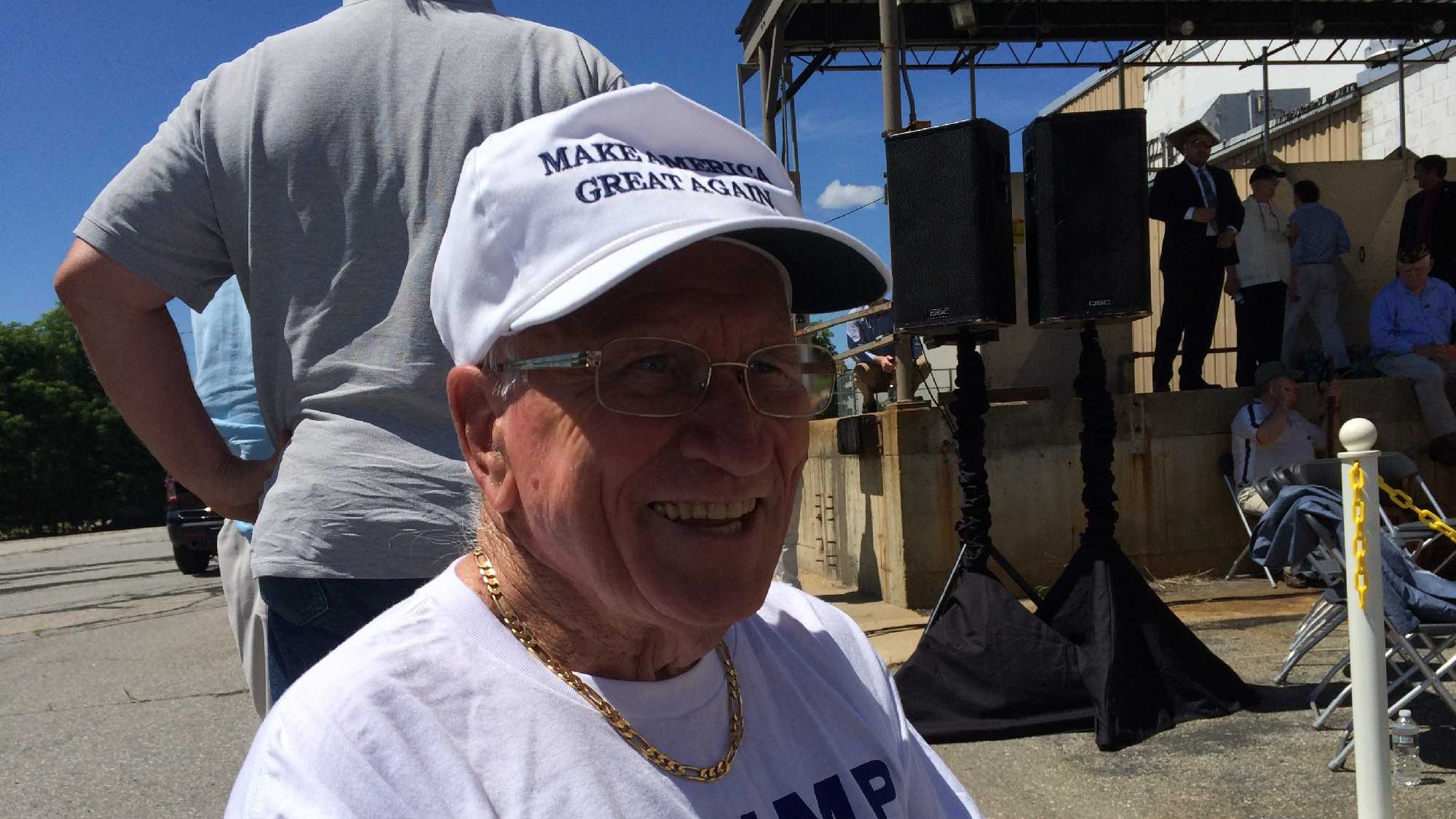 State Rep. Bob Elliott of Salem at Donald Trump's event in Manchester Thursday. (John DiStaso/WMUR)