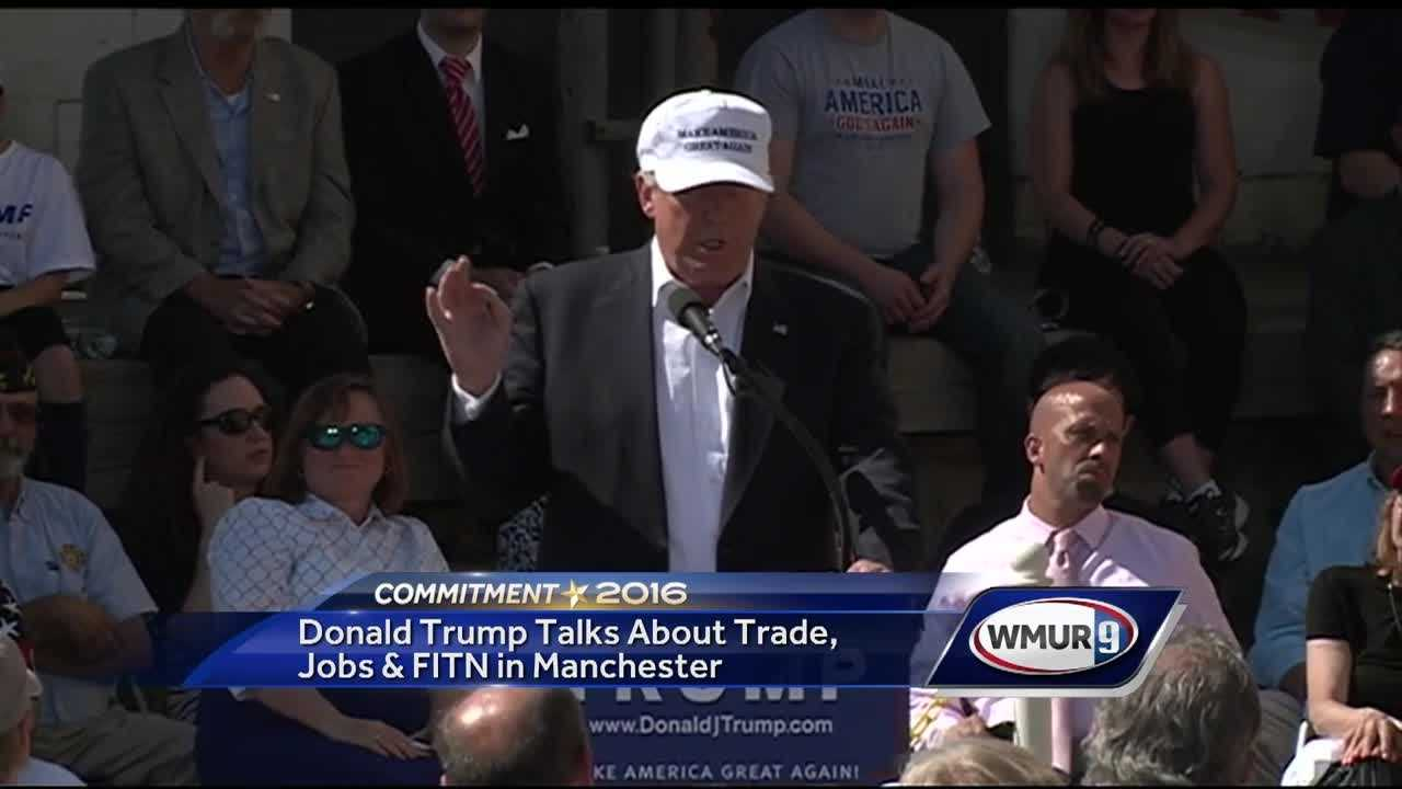 Presumptive Republican presidential nominee Donald Trump focused on trade and the economy Thursday in a speech in Manchester.