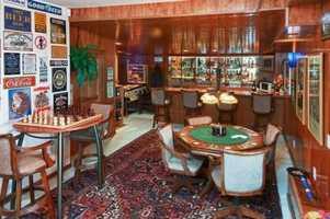 The home has a pub-style bar.