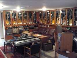 Here's a look inside the home's recording studio.