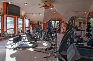 Here's a look inside the home's gym.