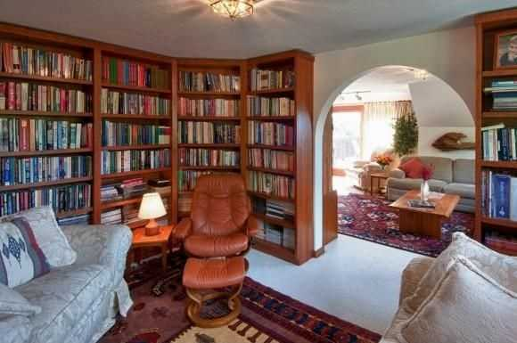 The home has a full library.