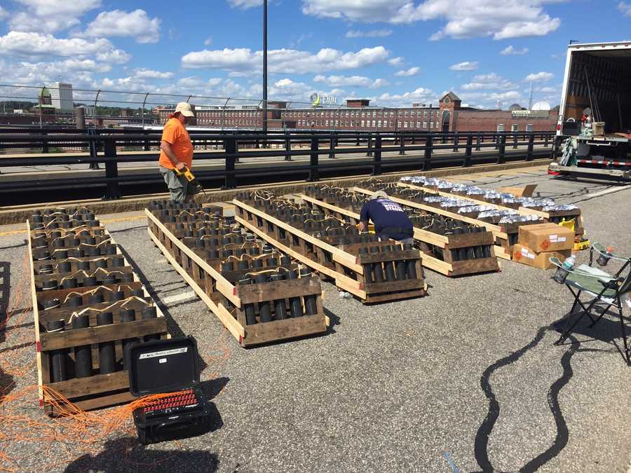 Atlas PyroVision Entertainment Group, Inc. sets up for their annual fireworks show in Manchester.