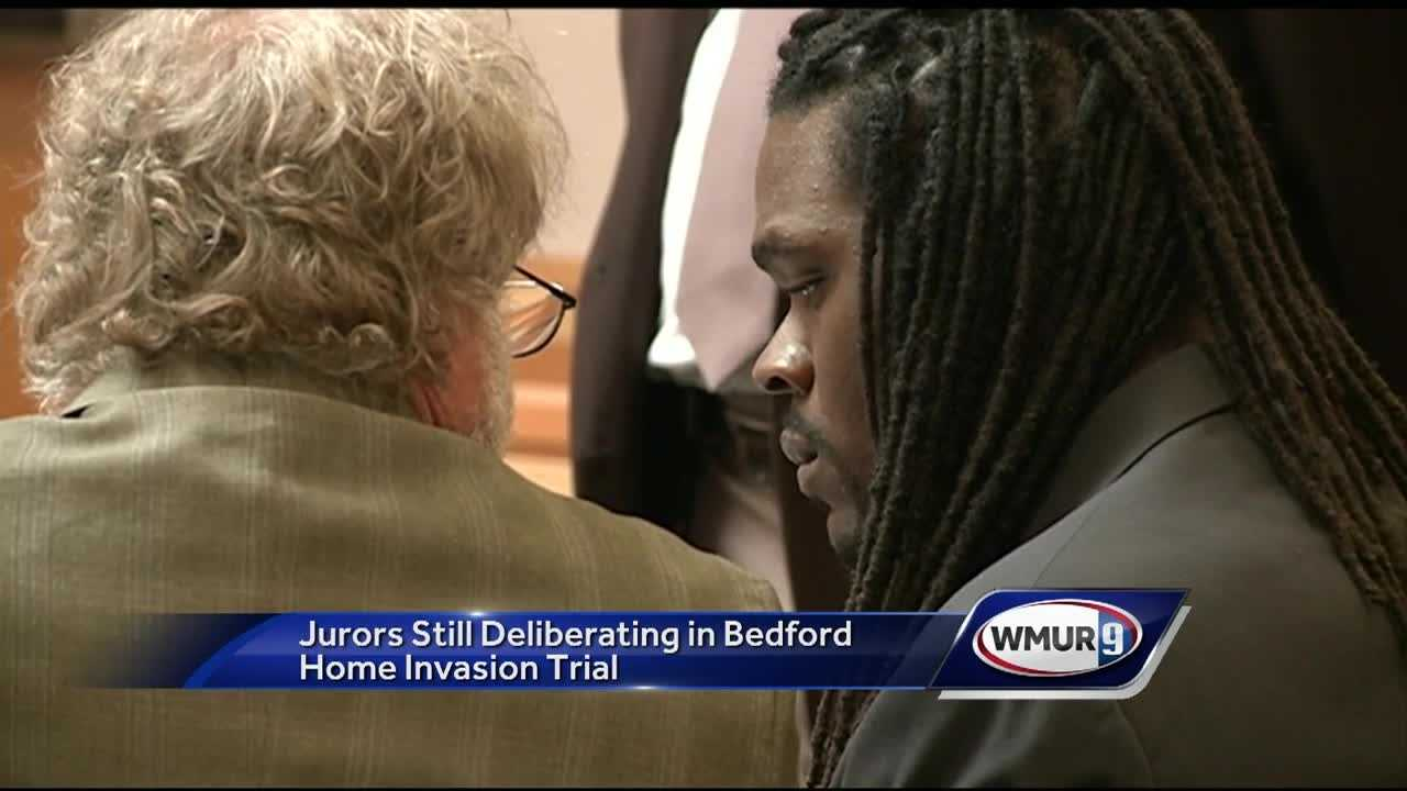 Jurors in the trial of a man accused in a violent home invasion in Bedford deliberated for a second day Thursday without a verdict.