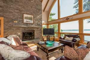 Here's a look at a stonewall with a fireplace in the living area.