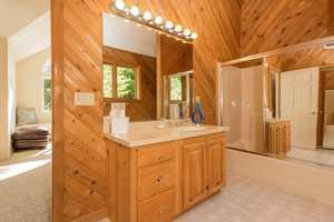 This bathroom has a hardwood finish.