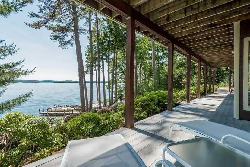 A look out at the lake from a lower deck.