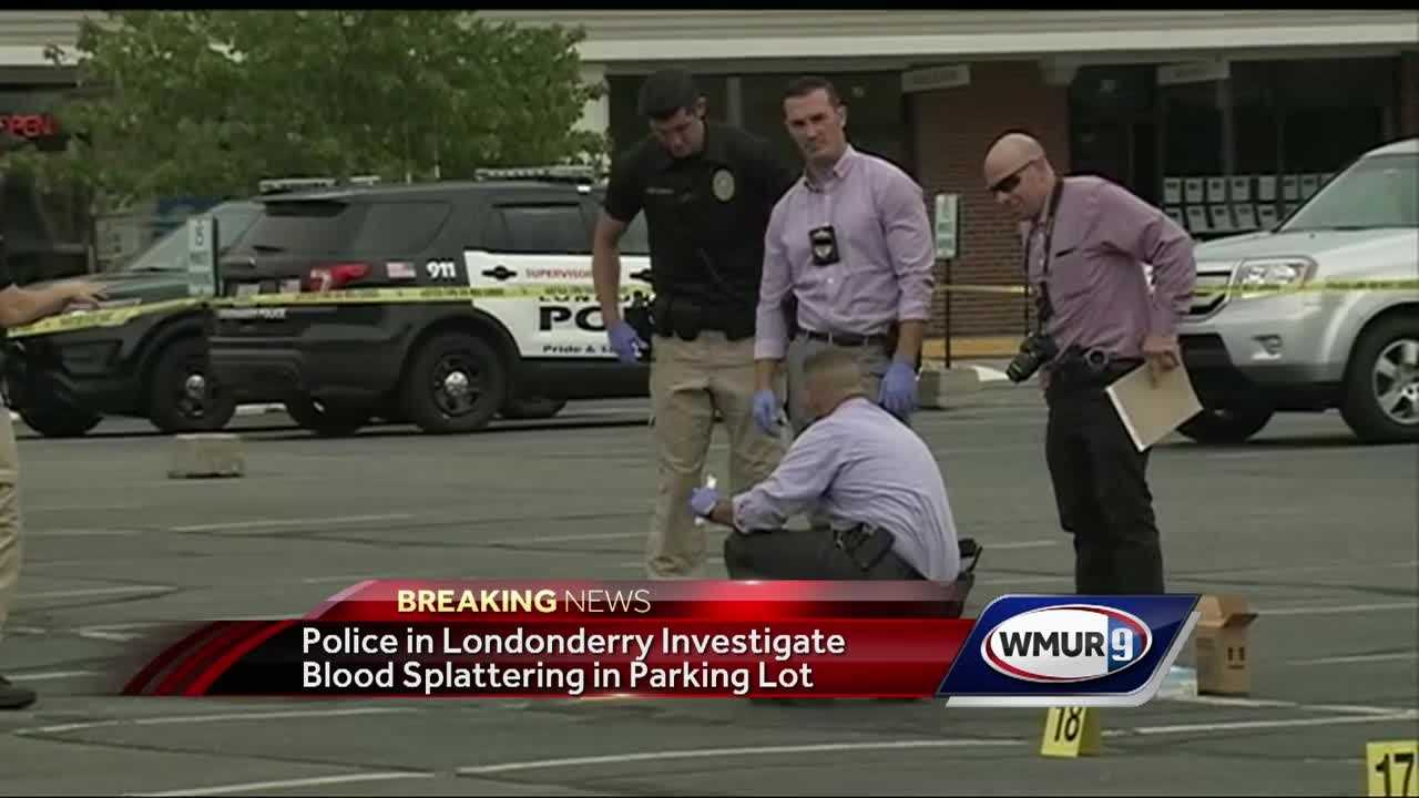 Police in Londonderry were investigating a possible assault Friday after blood was found spattered throughout the parking lot of the Crossroads Mall.