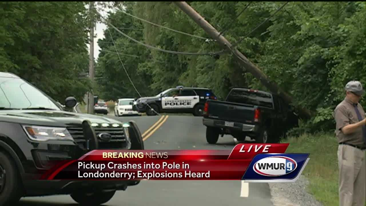 Eversource crews are working to restore power after a pickup trick hit a pole
