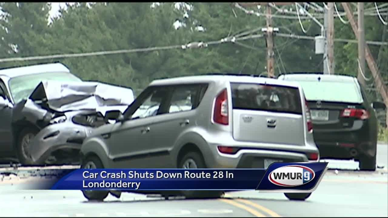 Route 28 in Londonderry is closed while police investigate a 3-car crash.