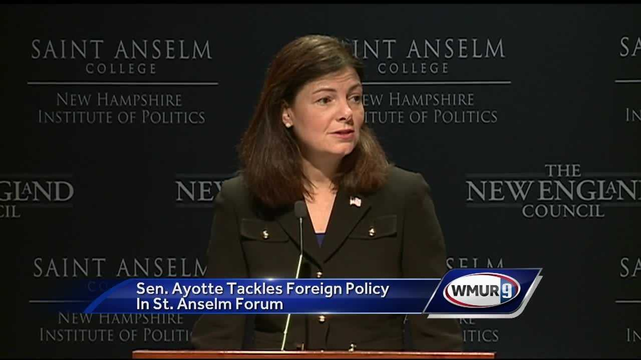 U.S. Sen. Kelly Ayotte speaks about foreign policy issues at the St. Anselm Institute of Politics.