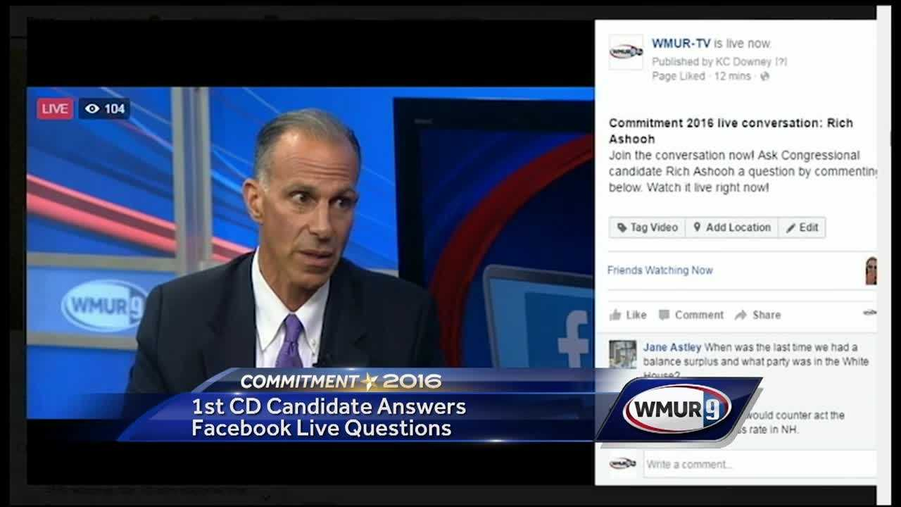 Republican 1st Congressional District candidate Rich Ashooh answered questions from WMUR's Facebook users Tuesday during a live video session.