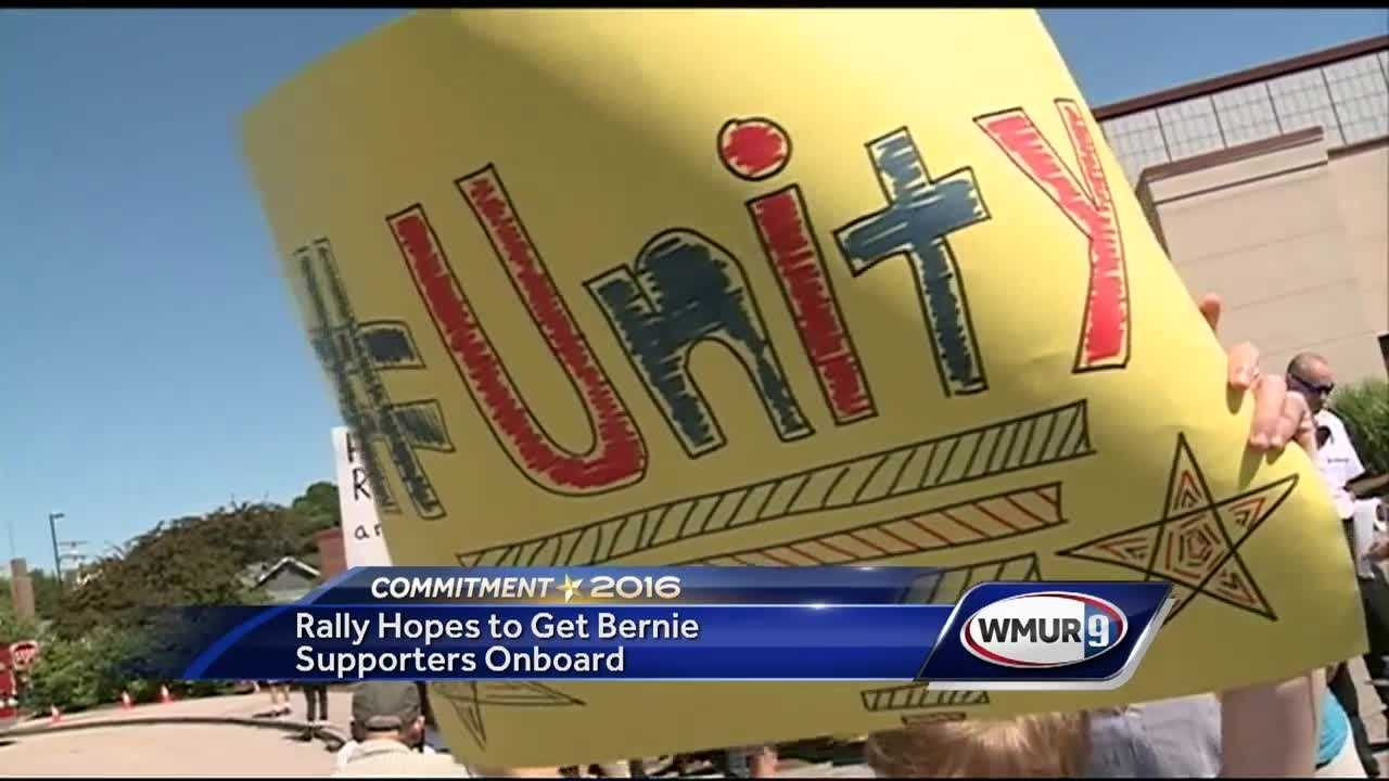 Demonstrators gathered outside a rally Tuesday in Portsmouth where U.S. Sen. Bernie Sanders endorsed Hillary Clinton for the Democratic presidential nomination.