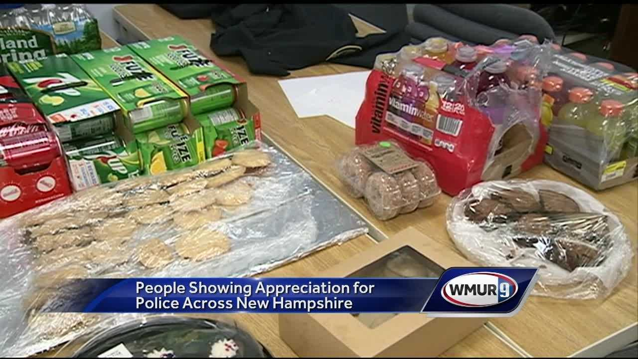 Granite Staters are showing their support for local police departments, bringing officers thank-you cards and snacks.