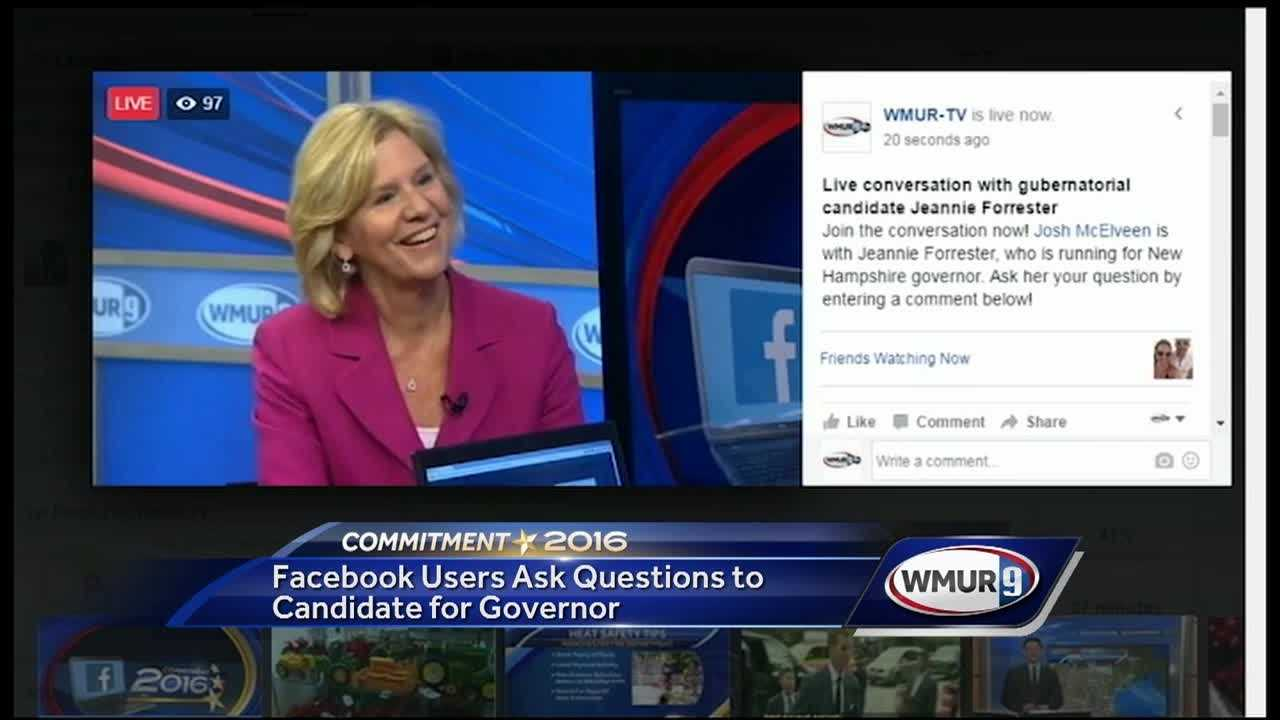 Republican candidate for governor Jeanie Forrester answered questions from WMUR's Facebook users Wednesday during a live video session.