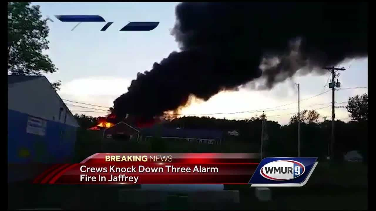 Fire crews from multiple towns responded to a large fire in Jaffrey Wednesday evening.