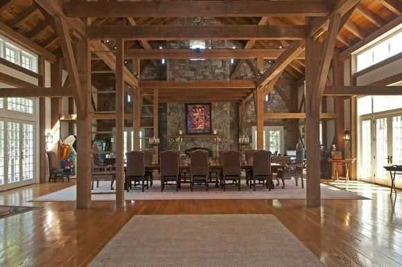 The party barn features post and beams to give it a rustic feel.