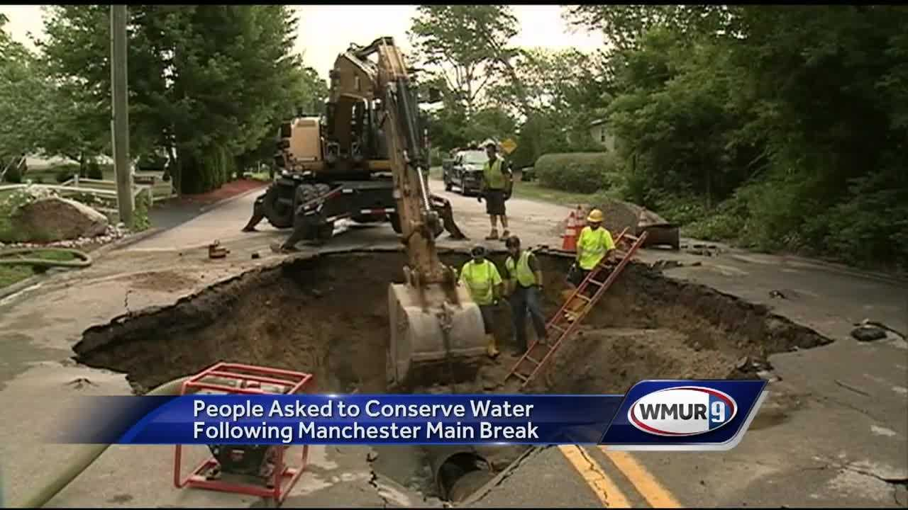Repair work was underway Thursday after a 24-inch water main broke in Manchester.