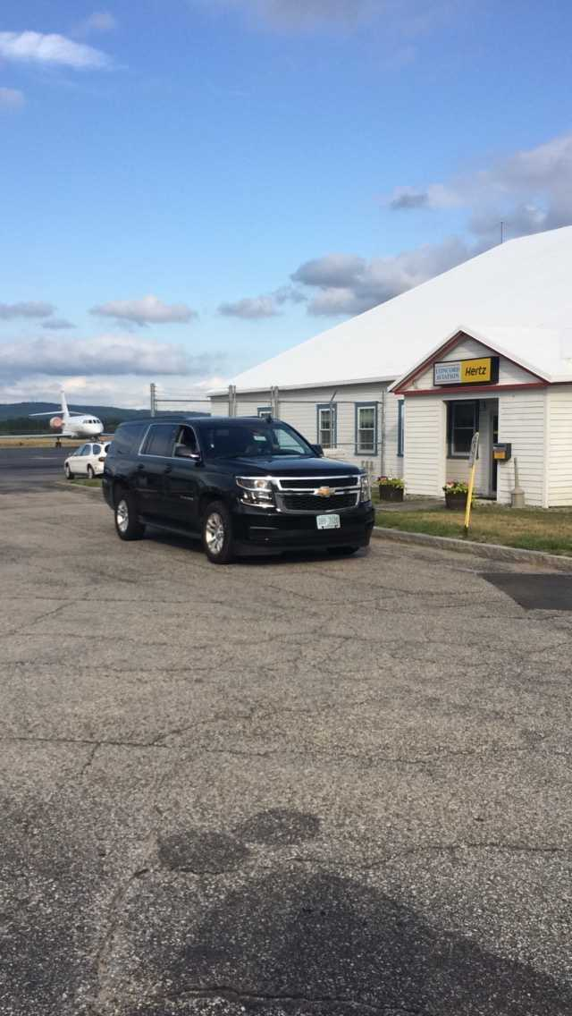 Jamie McMurray arrives at Concord Municipal Airport.