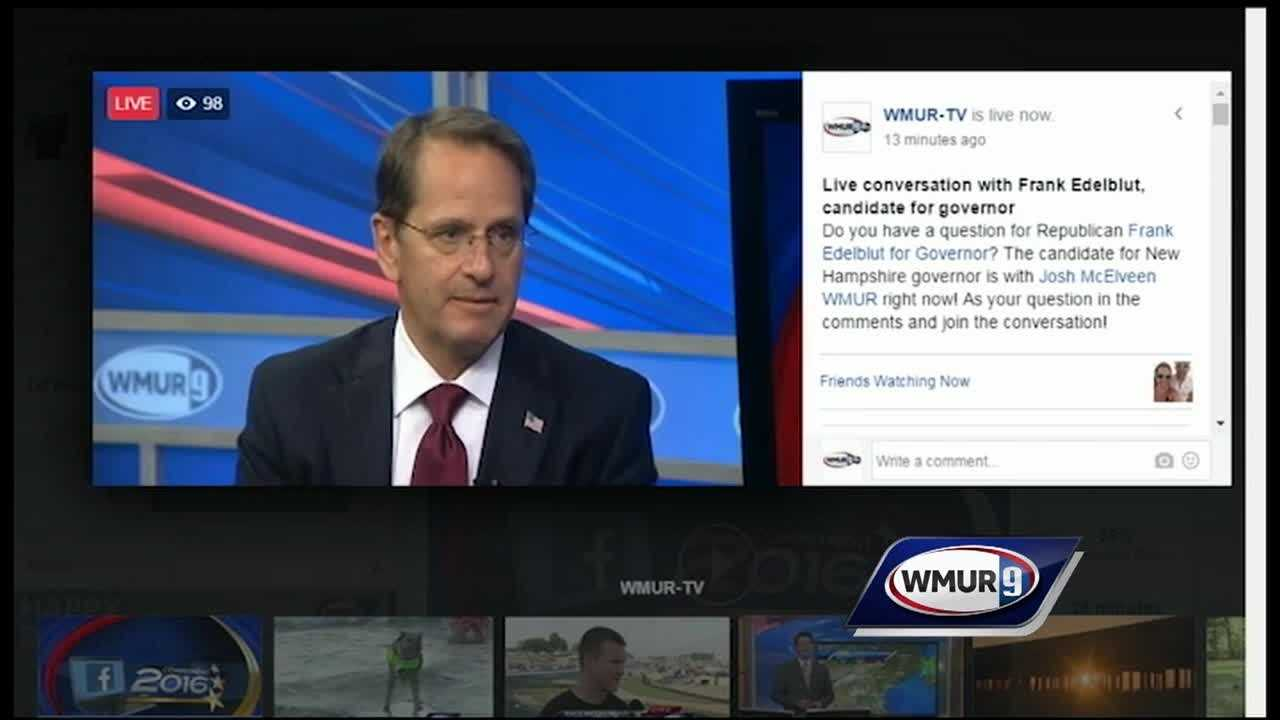 Republican candidate for governor Frank Edelblut answered questions from WMUR's Facebook users Friday during a live video session.