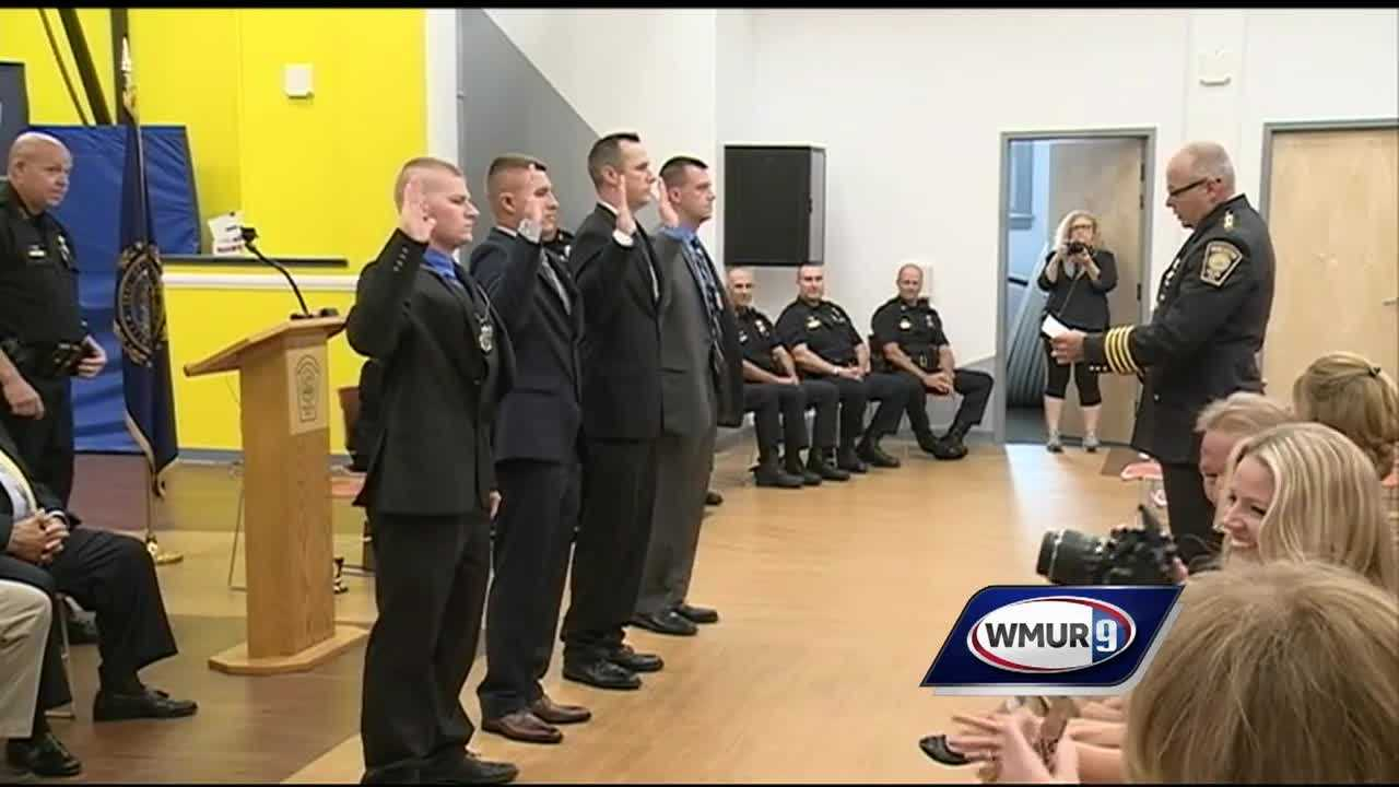 The city of Manchester welcomed four new police officers Monday to the force.