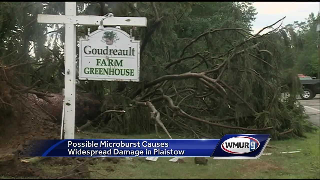 Restoration efforts are underway in Plaistow, where a possible microburst caused widespread damage.