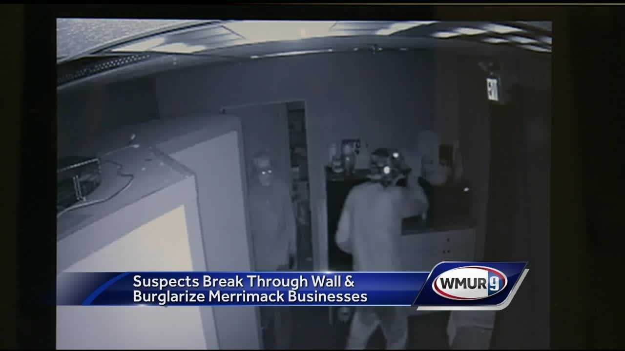 Three people broke through a roof Monday morning and burglarized several business in Merrimack, police said.
