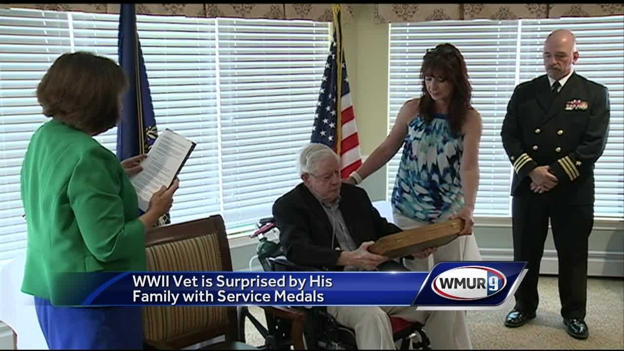 A World War II veteran was surprised Wednesday when he was given long-overdue service medals.