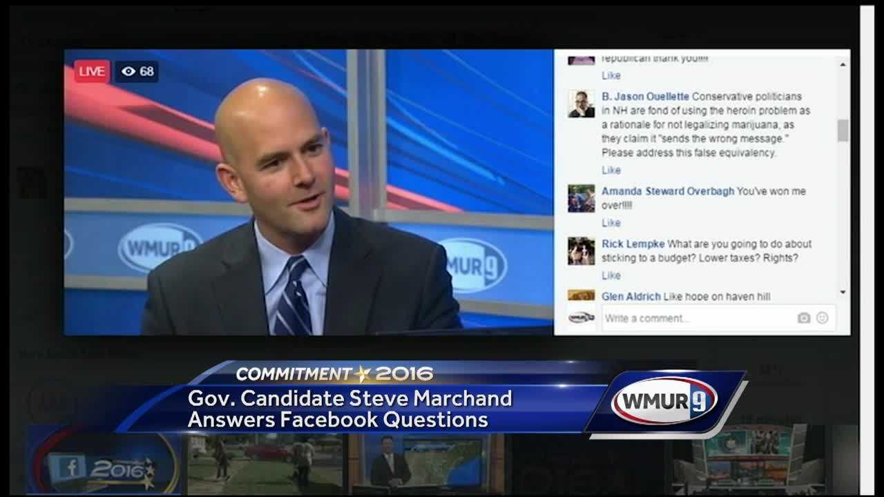 Democratic candidate for governor Steve Marchand answered questions from Facebook users Wednesday.