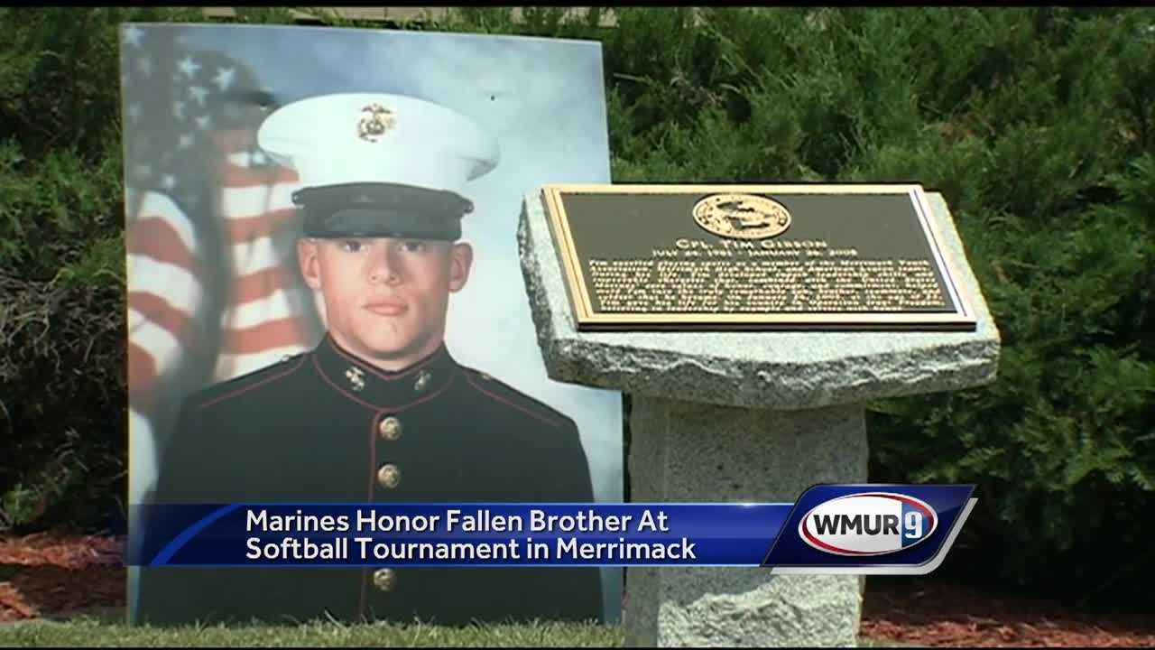 50 Marines came to Merrimack to honor their fallen brother, Tim Gibson, a Merrimack native who was killed in a helicopter crash in the battle for Fallujah.
