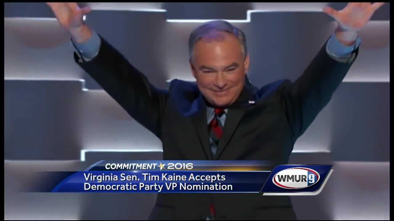 U.S. Sen. Tim Kaine accepted the Democratic Party's nomination for vice president on the third night of the Democratic National Convention.