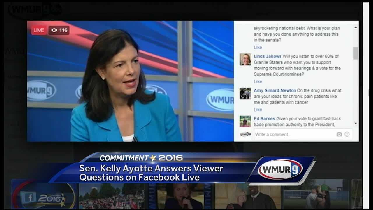 U.S. Sen. Kelly Ayotte answered questions from Facebook users Thursday as she runs for re-election.