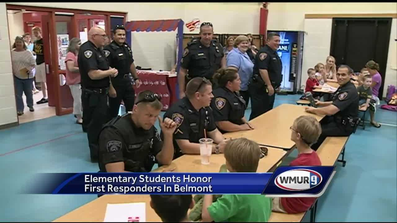 Police, firefighters and EMTs got a warm welcome and hot lunch Thursday from students and staff at Belmont Elementary School.
