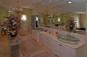 A look inside one of the home's 6 full bathrooms.