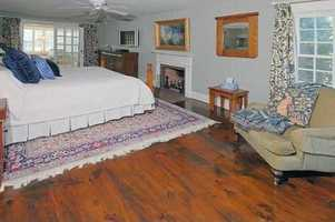 Here's a look inside one of the home's six bedrooms.