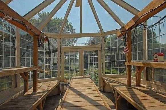 An atrium opens up to outdoor perennial gardens.