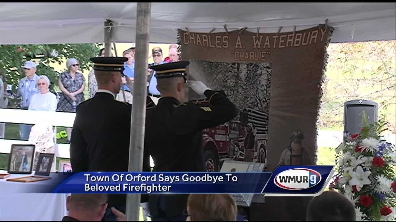 A funeral was held today for fallen Orford firefighter Charlie Waterbury, who died after collapsing as he fought a brush fire in Lyme.
