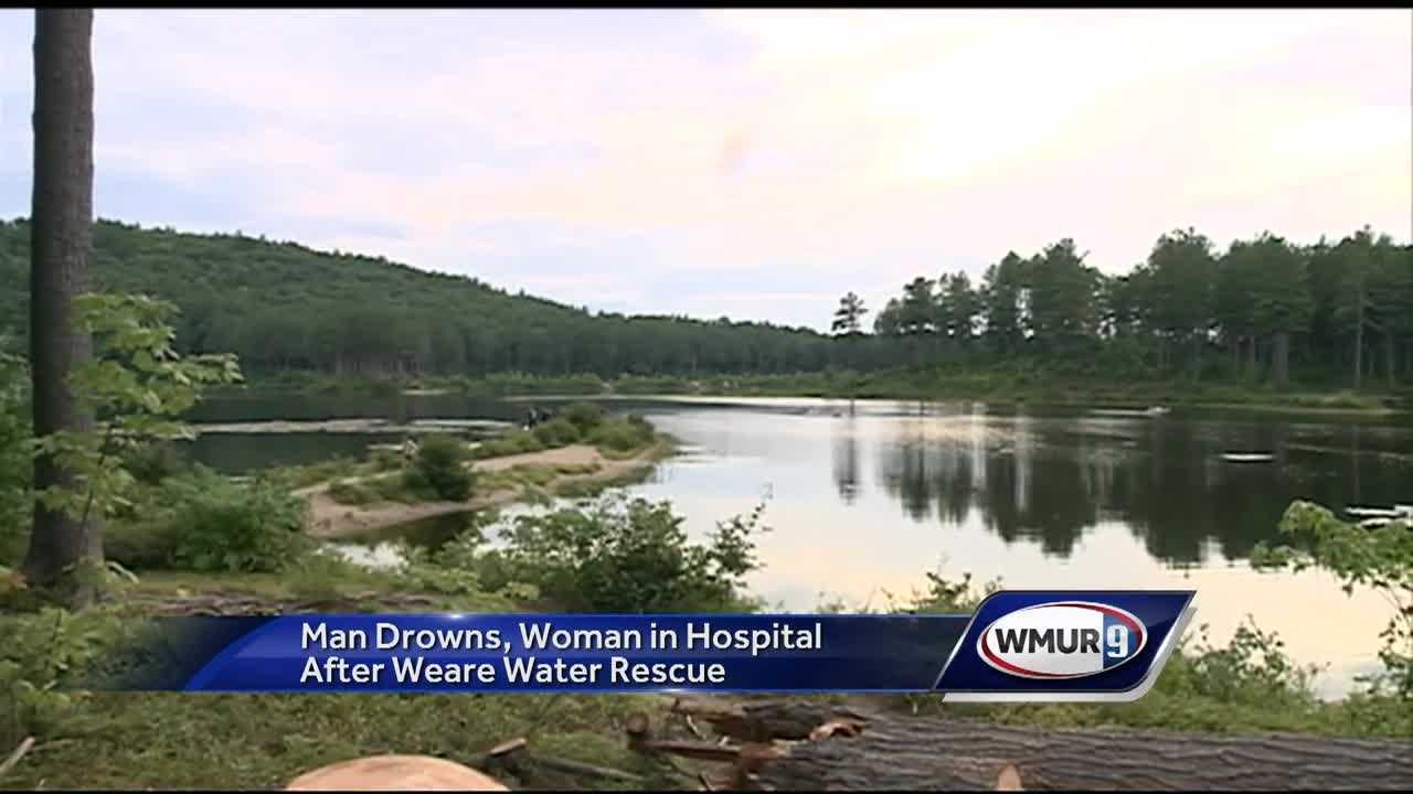 Officials said one person died and another was hospitalized following an incident on Everett Lake in Weare Saturday.