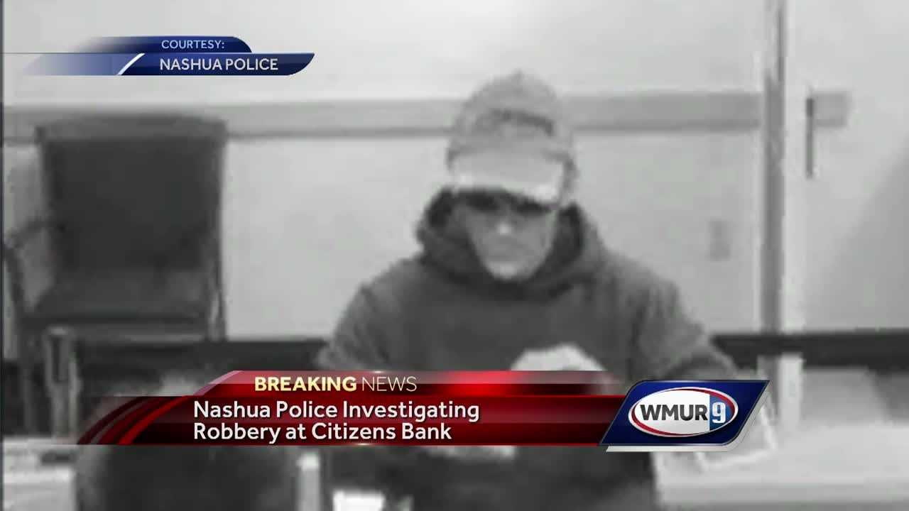 Police in Nashua were searching for a man Monday after a bank was robbed.