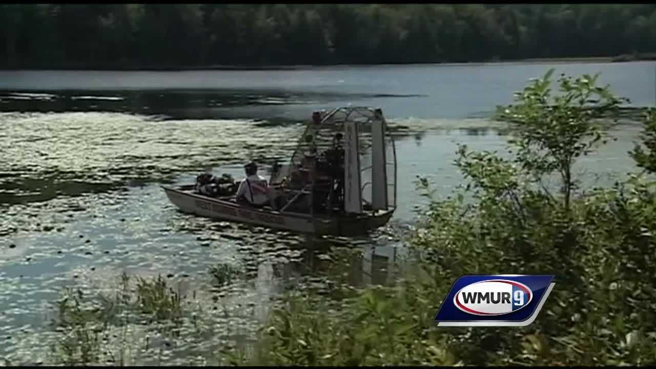 A search was underway Wednesday for a fisherman from Massachusetts who fell out of a canoe on Gilman Pond in Alton.